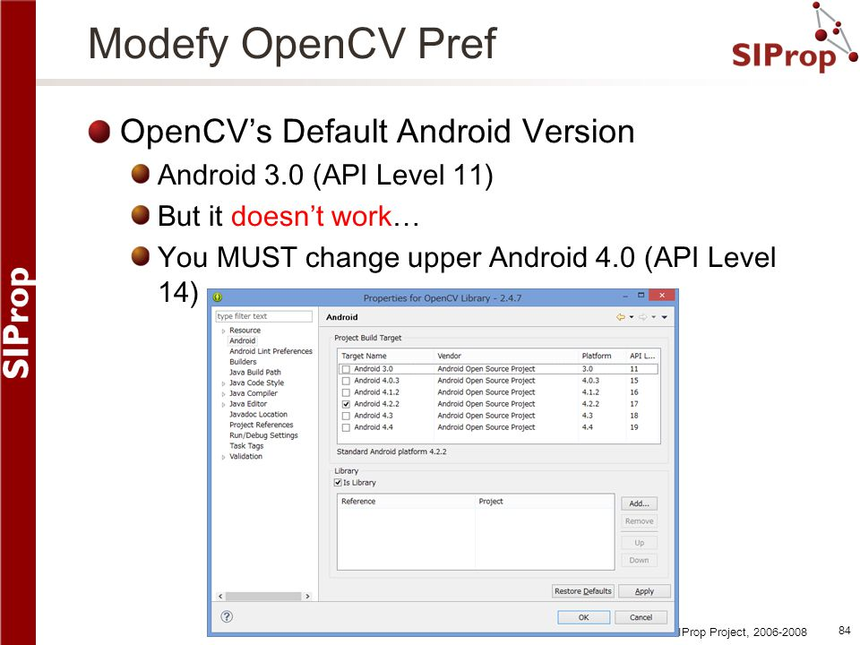 Modefy OpenCV Pref OpenCV's Default Android Version