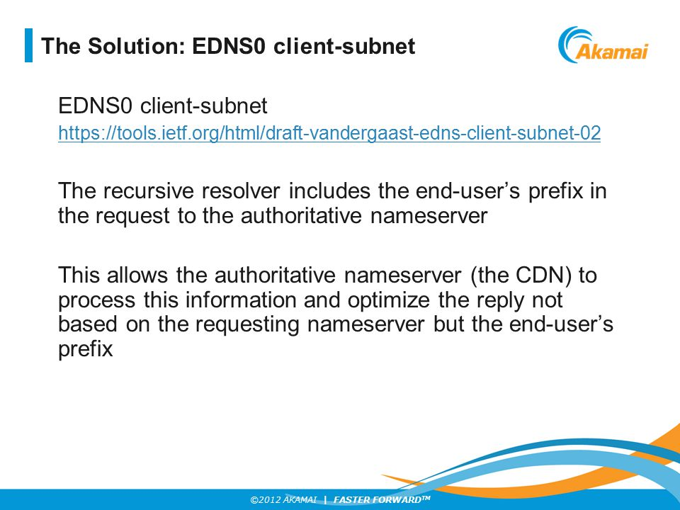 The Solution: EDNS0 client-subnet