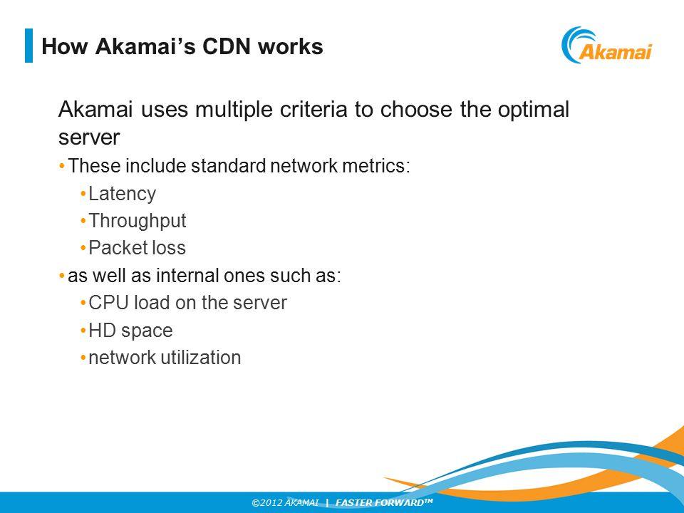 Akamai uses multiple criteria to choose the optimal server