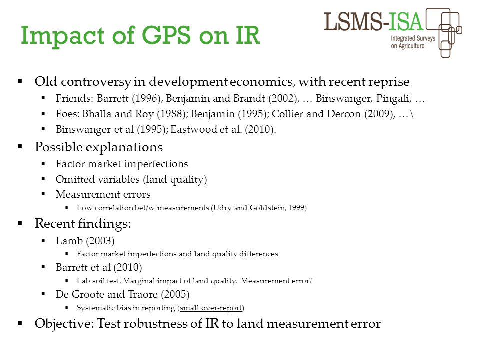 Impact of GPS on IR Old controversy in development economics, with recent reprise.