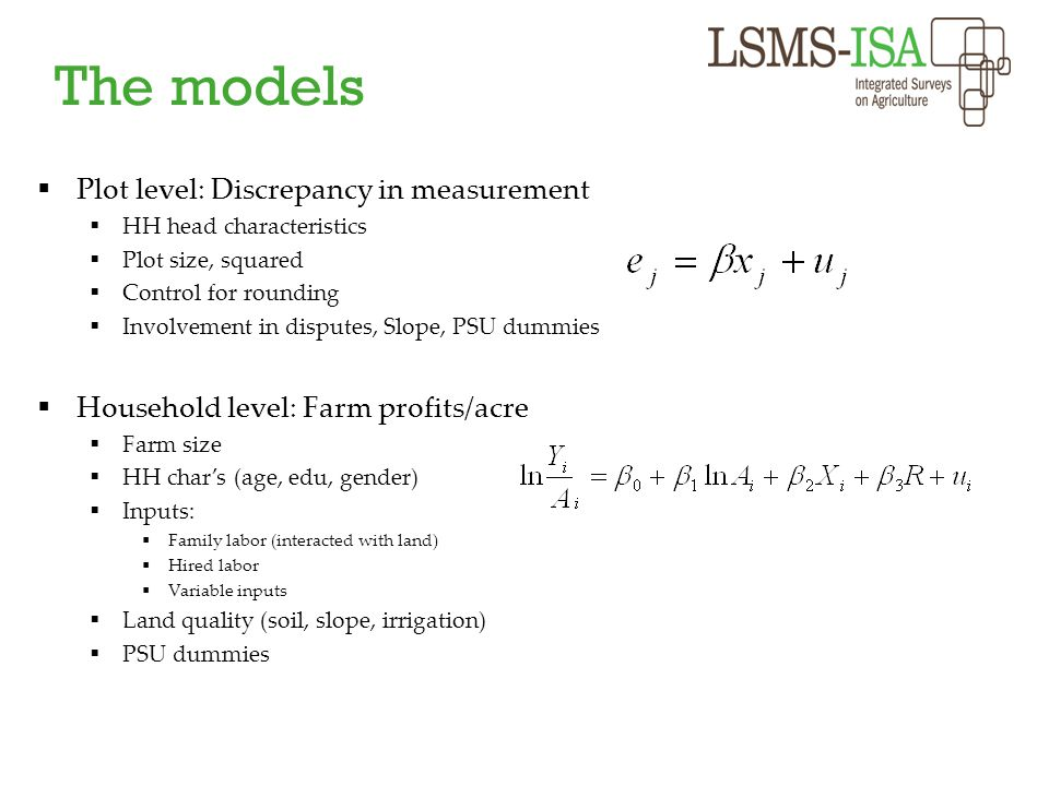 The models Plot level: Discrepancy in measurement