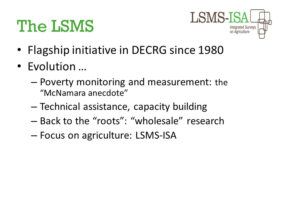 The LSMS Flagship initiative in DECRG since 1980 Evolution …