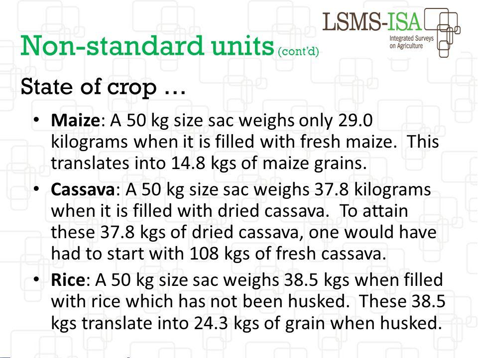 Non-standard units (cont'd)