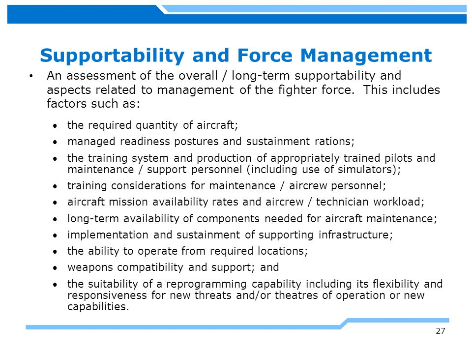 Supportability and Force Management