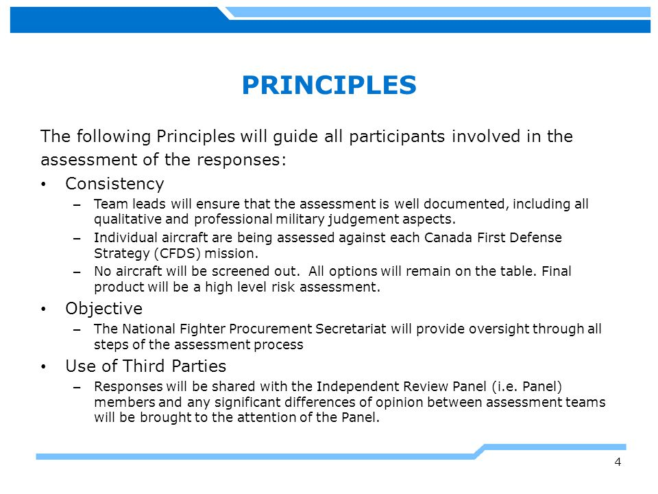 PRINCIPLES The following Principles will guide all participants involved in the. assessment of the responses:
