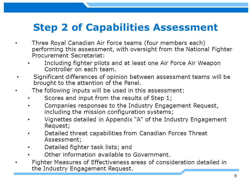 Step 2 of Capabilities Assessment