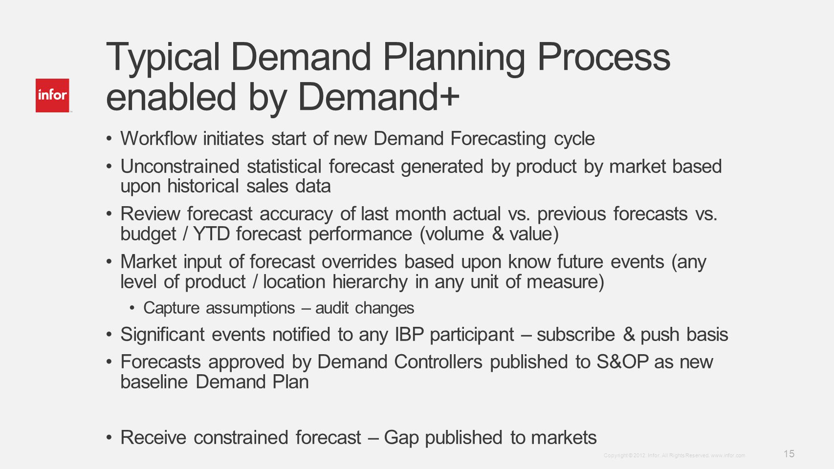Typical Demand Planning Process enabled by Demand+