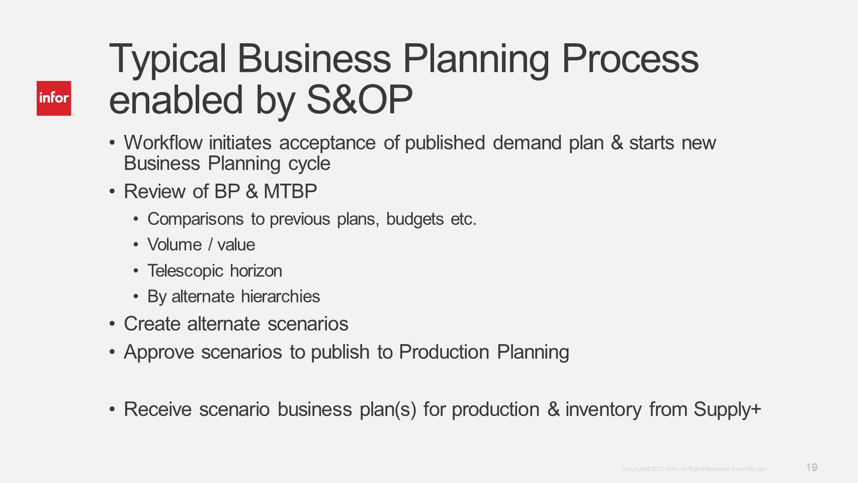 Typical Business Planning Process enabled by S&OP