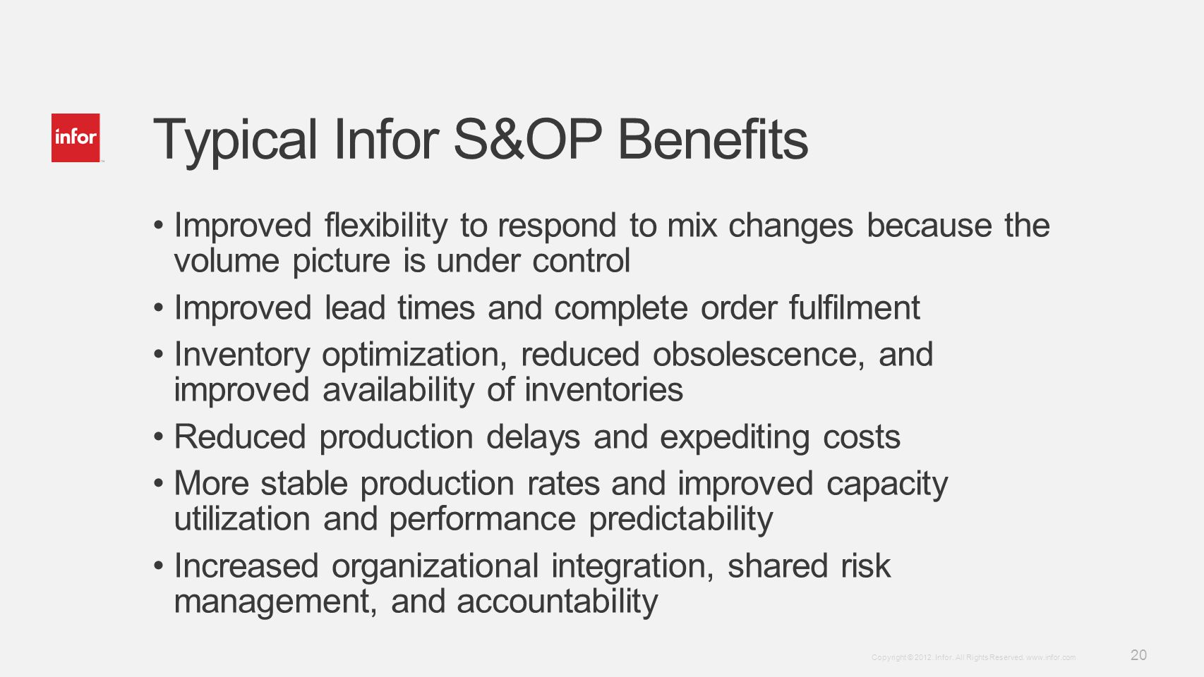 Typical Infor S&OP Benefits