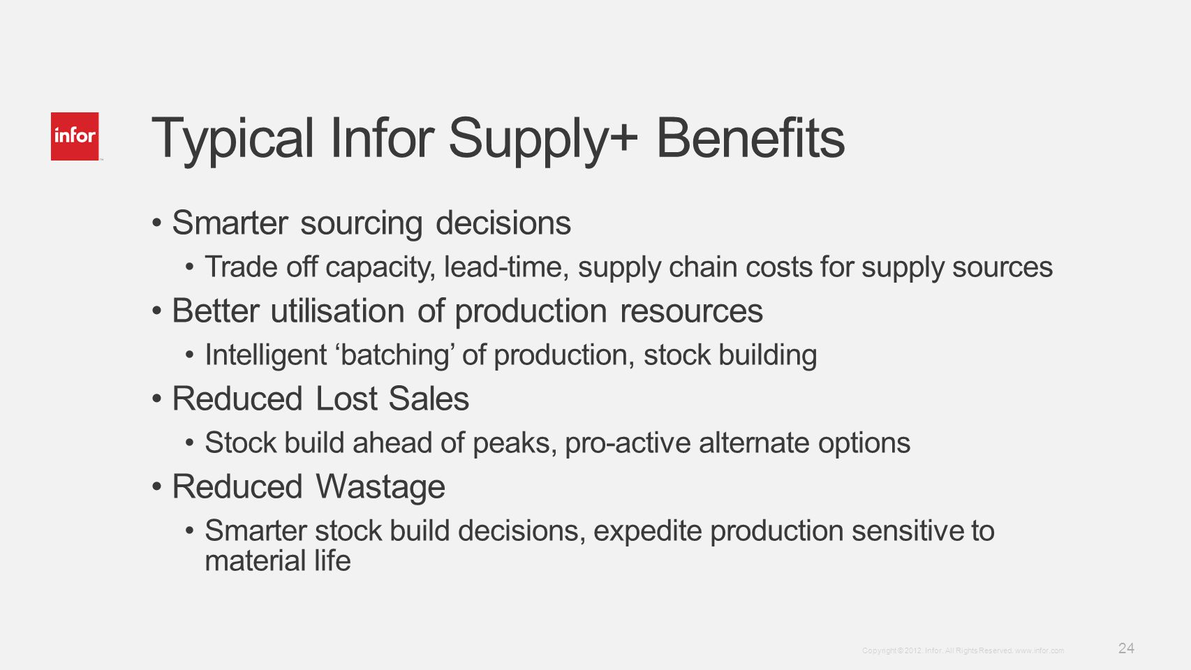 Typical Infor Supply+ Benefits
