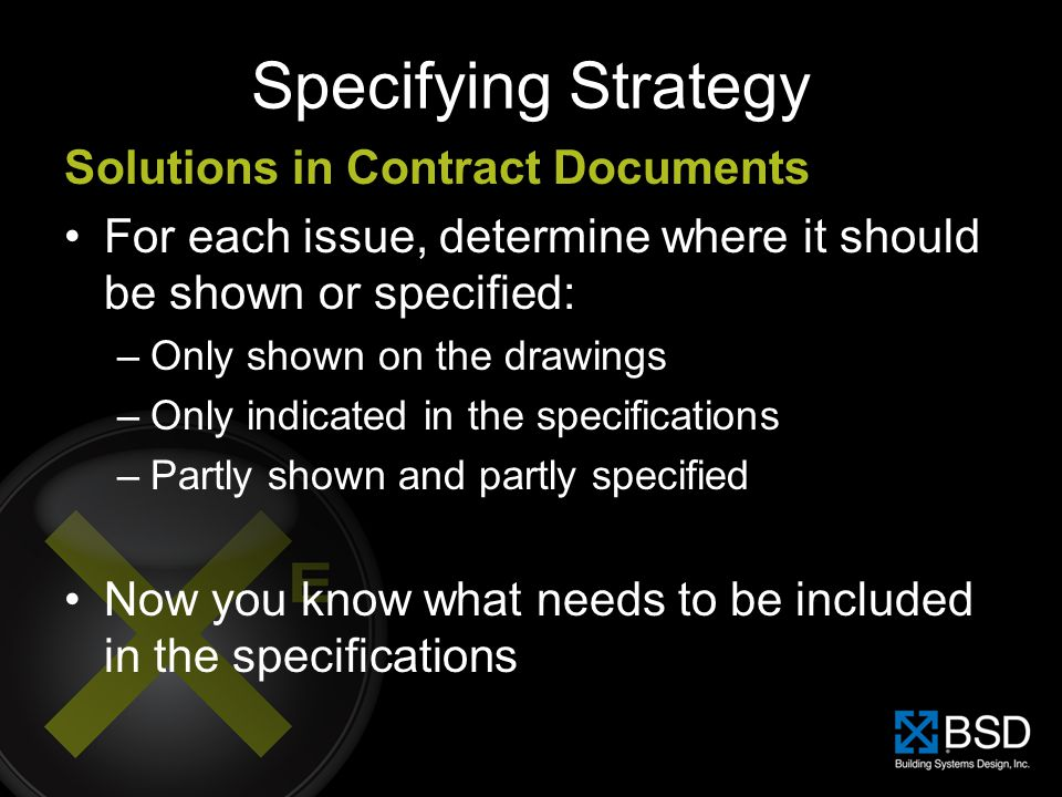 Specifying Strategy Solutions in Contract Documents