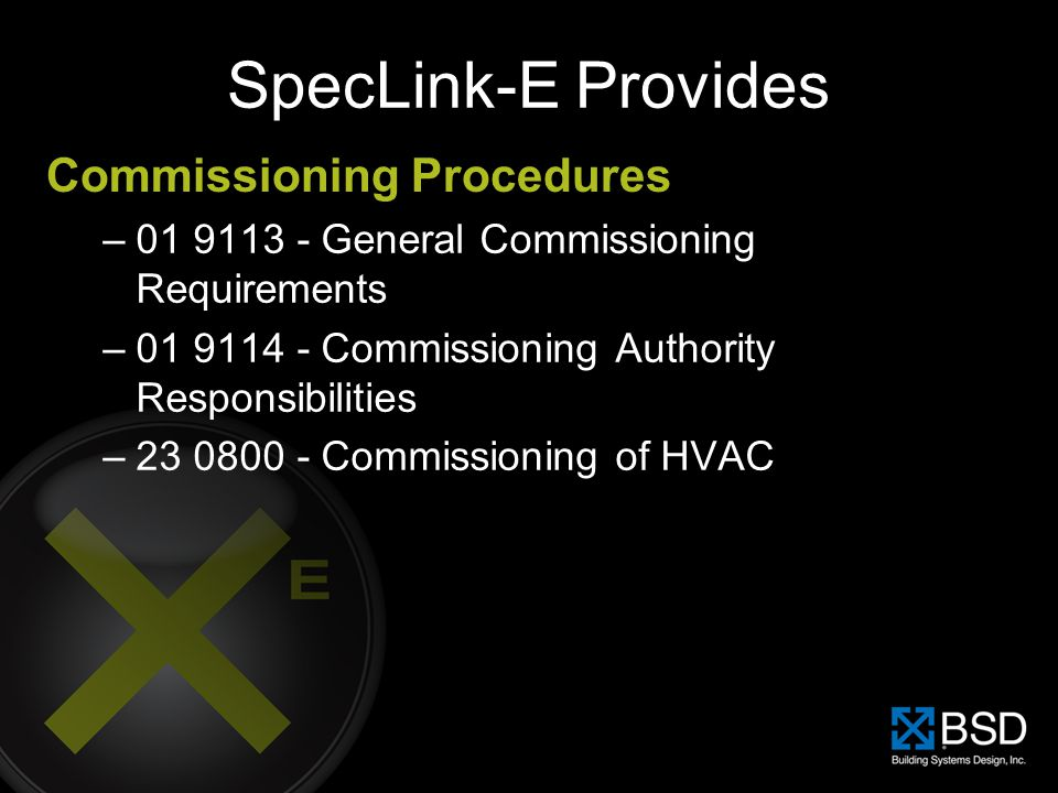 SpecLink-E Provides Commissioning Procedures