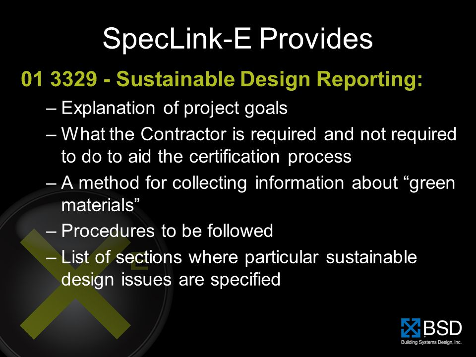 SpecLink-E Provides 01 3329 - Sustainable Design Reporting: