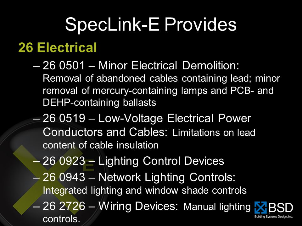 SpecLink-E Provides 26 Electrical
