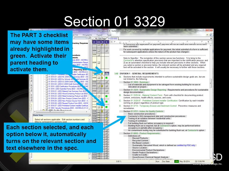 Section 01 3329 The PART 3 checklist may have some items already highlighted in green. Activate their parent heading to activate them.