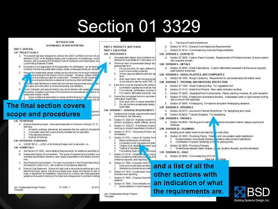 Section 01 3329 The final section covers scope and procedures