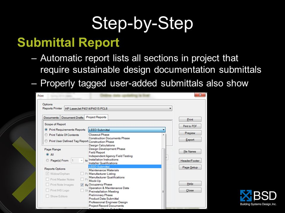 Step-by-Step Submittal Report