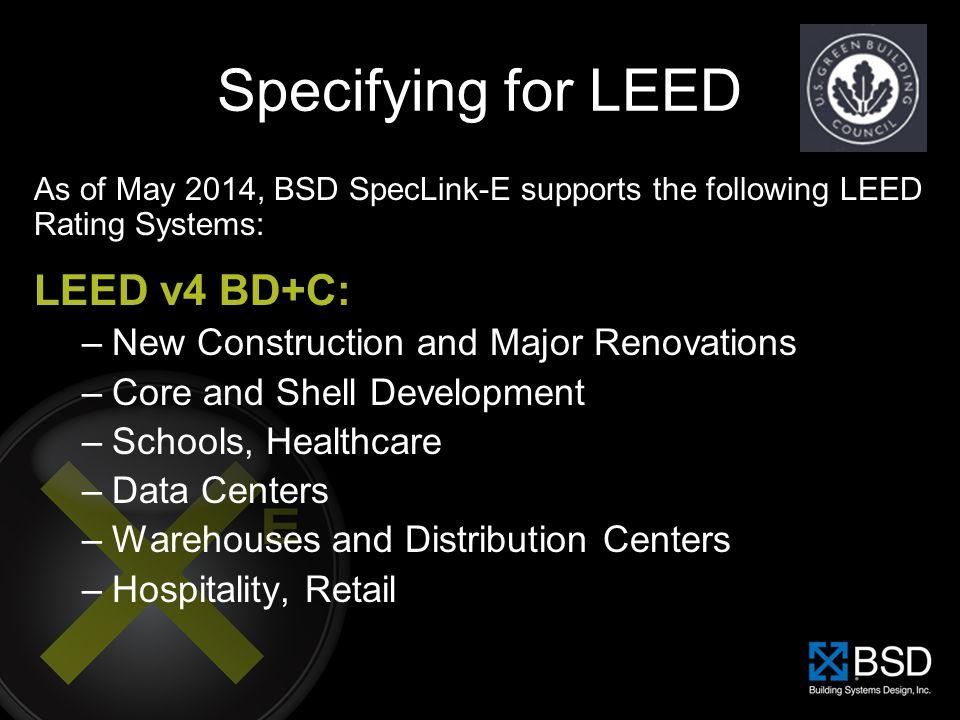 Specifying for LEED LEED v4 BD+C:
