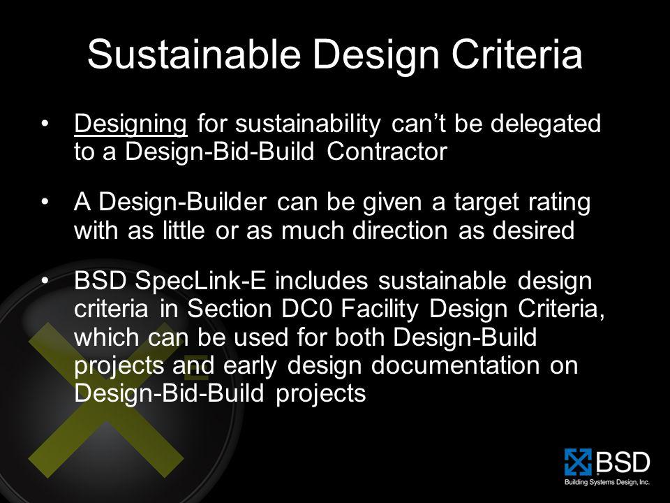 Sustainable Design Criteria