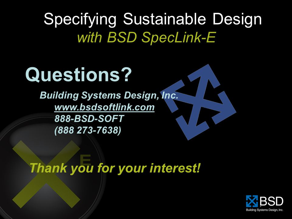 Specifying Sustainable Design with BSD SpecLink-E