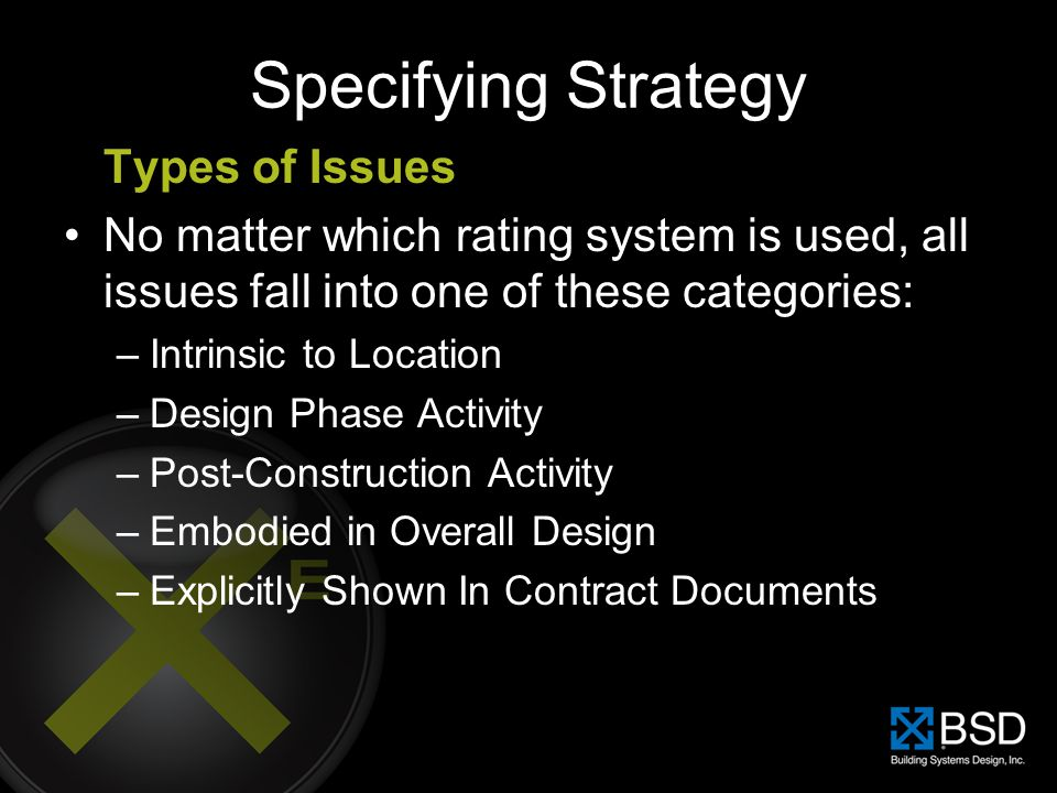 Specifying Strategy Types of Issues