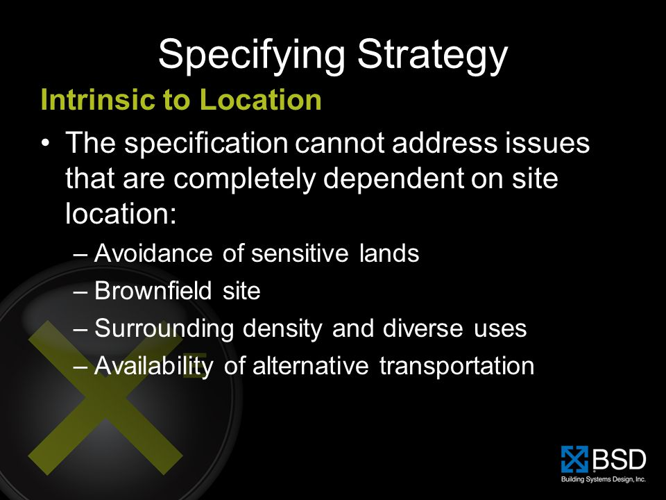 Specifying Strategy Intrinsic to Location