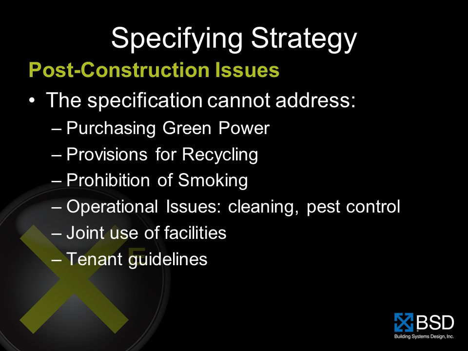 Specifying Strategy Post-Construction Issues