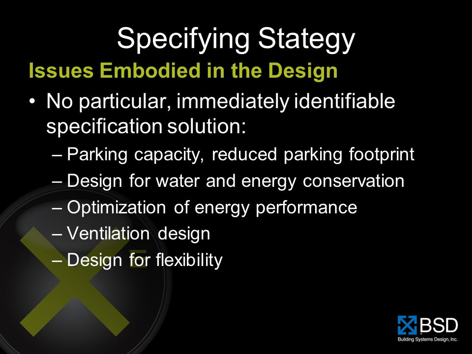 Specifying Stategy Issues Embodied in the Design