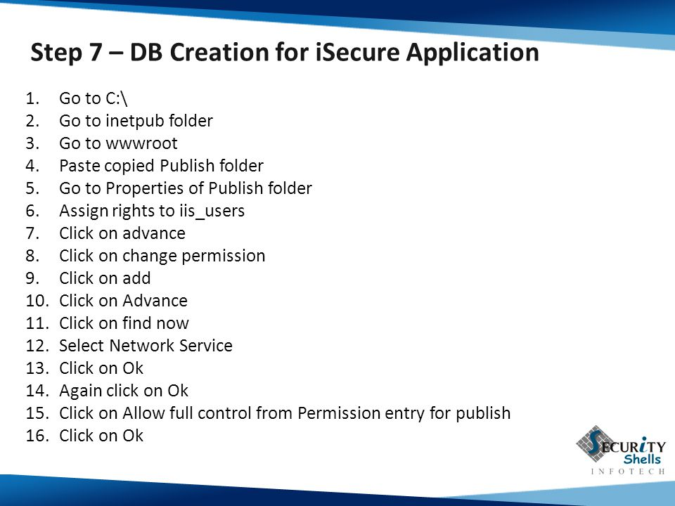 Step 7 – DB Creation for iSecure Application