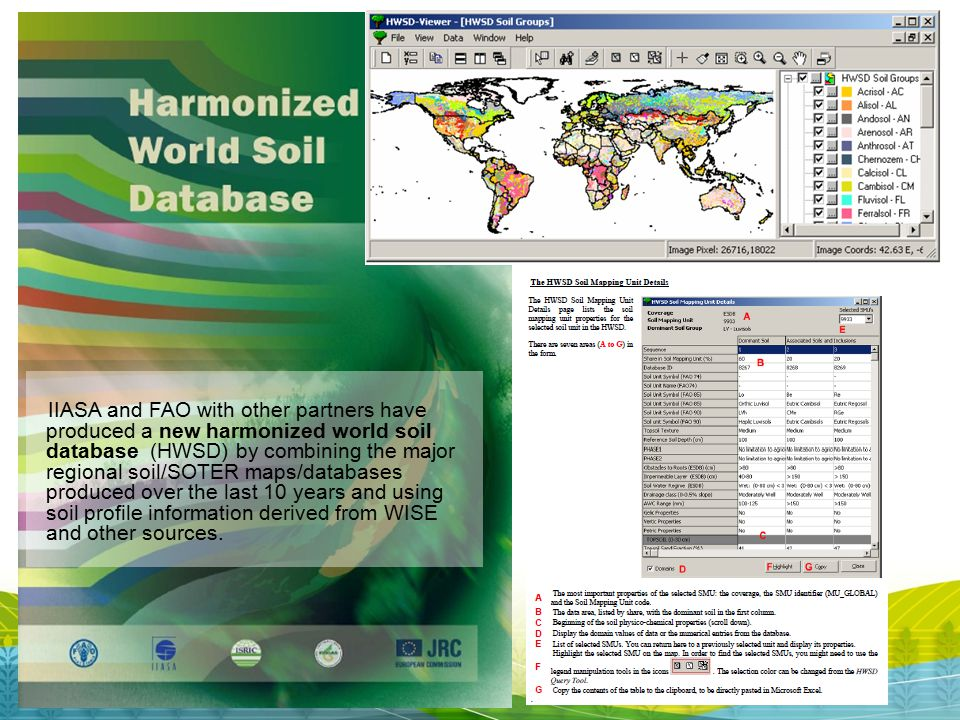 IIASA and FAO with other partners have produced a new harmonized world soil database (HWSD) by combining the major regional soil/SOTER maps/databases produced over the last 10 years and using soil profile information derived from WISE and other sources.