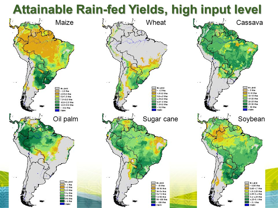 Attainable Rain-fed Yields, high input level