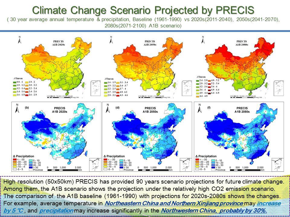 Climate Change Scenario Projected by PRECIS ( 30 year average annual temperature & precipitation, Baseline (1961-1990) vs 2020s(2011-2040), 2050s(2041-2070), 2080s(2071-2100) A1B scenario)