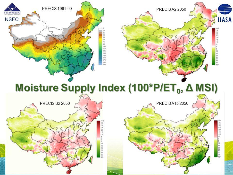 Moisture Supply Index (100*P/ET0, Δ MSI)