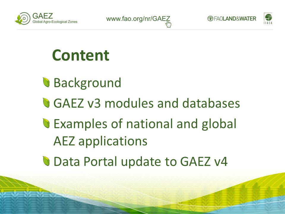 Content Background GAEZ v3 modules and databases