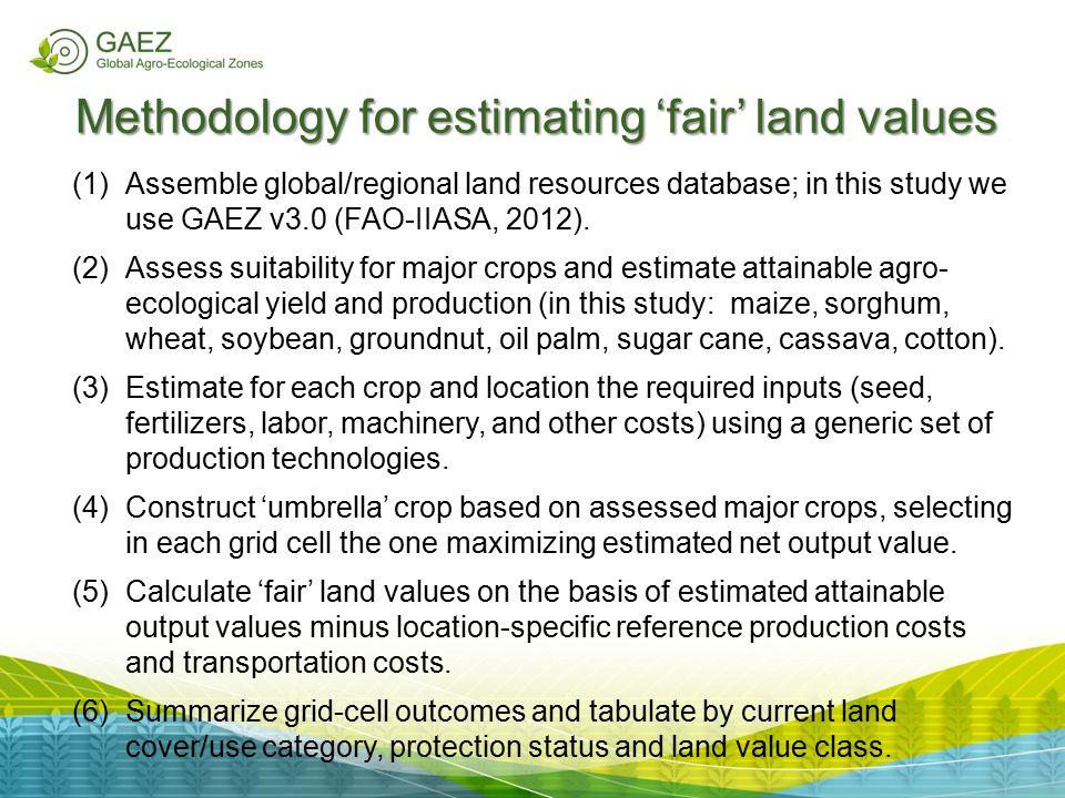 Methodology for estimating 'fair' land values