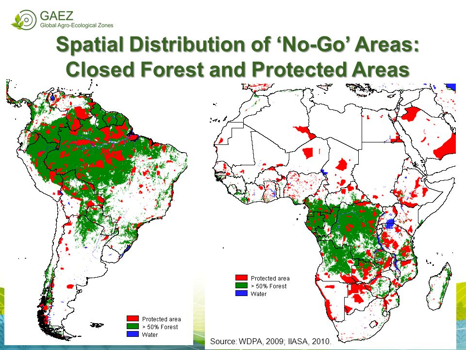 Spatial Distribution of 'No-Go' Areas: Closed Forest and Protected Areas