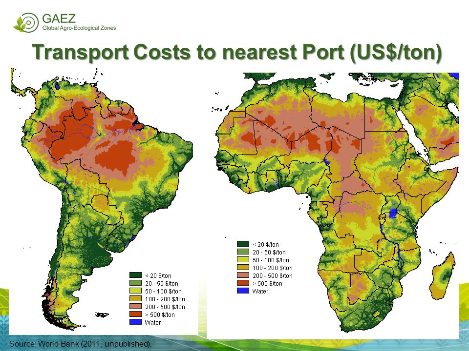 Transport Costs to nearest Port (US$/ton)