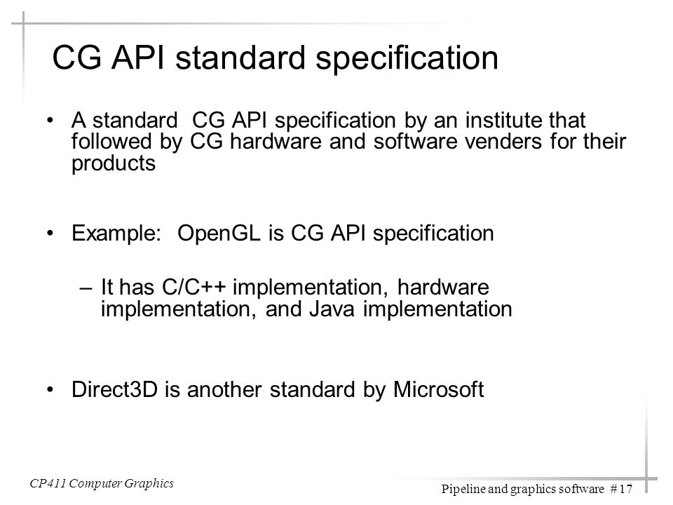 CG API standard specification