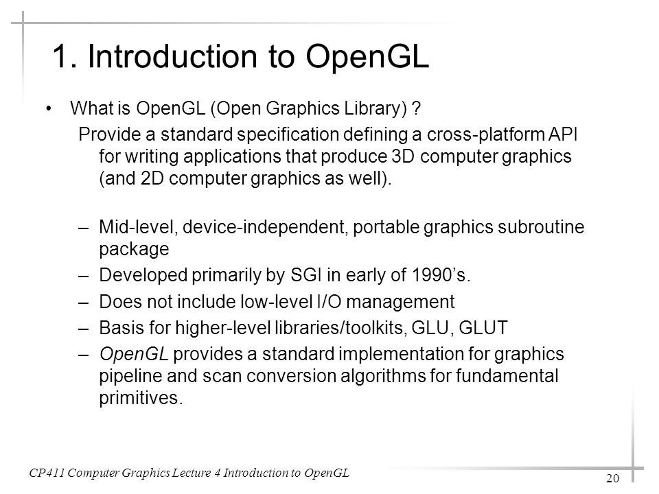 1. Introduction to OpenGL