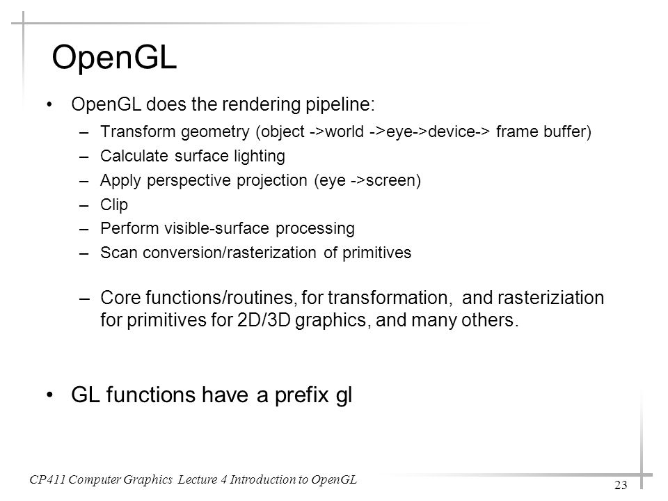 OpenGL GL functions have a prefix gl
