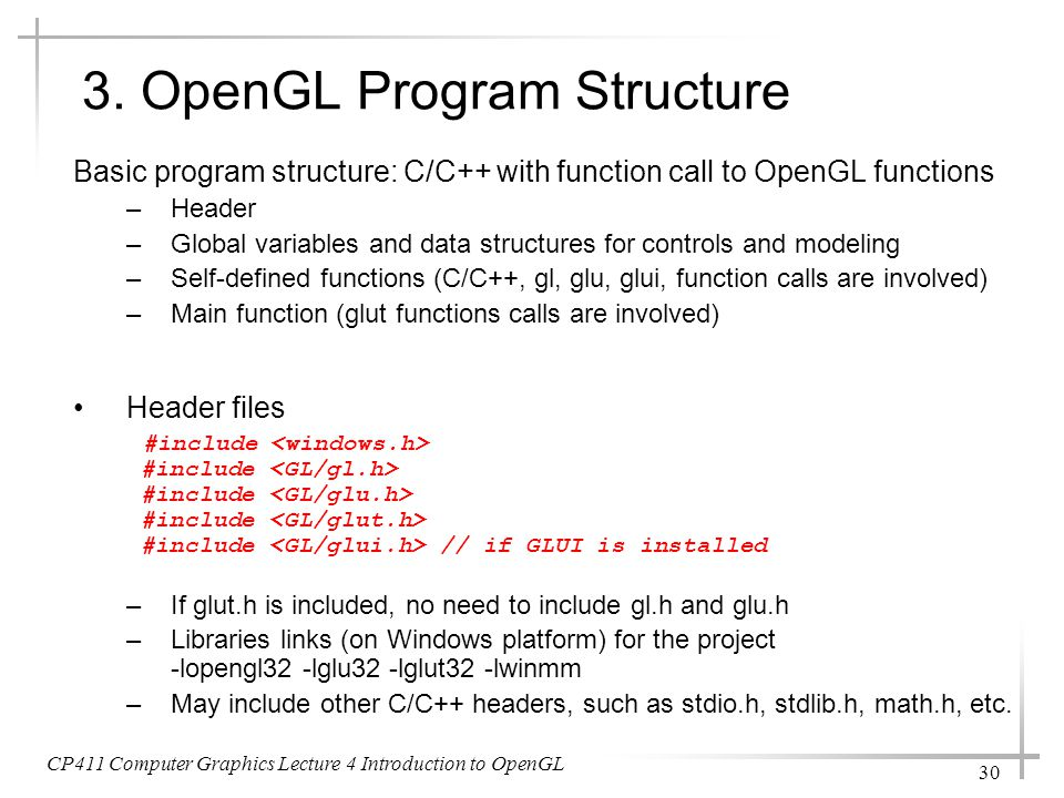 3. OpenGL Program Structure