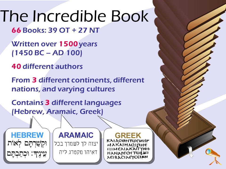 The Incredible Book 66 Books: 39 OT + 27 NT Written over 1500 years