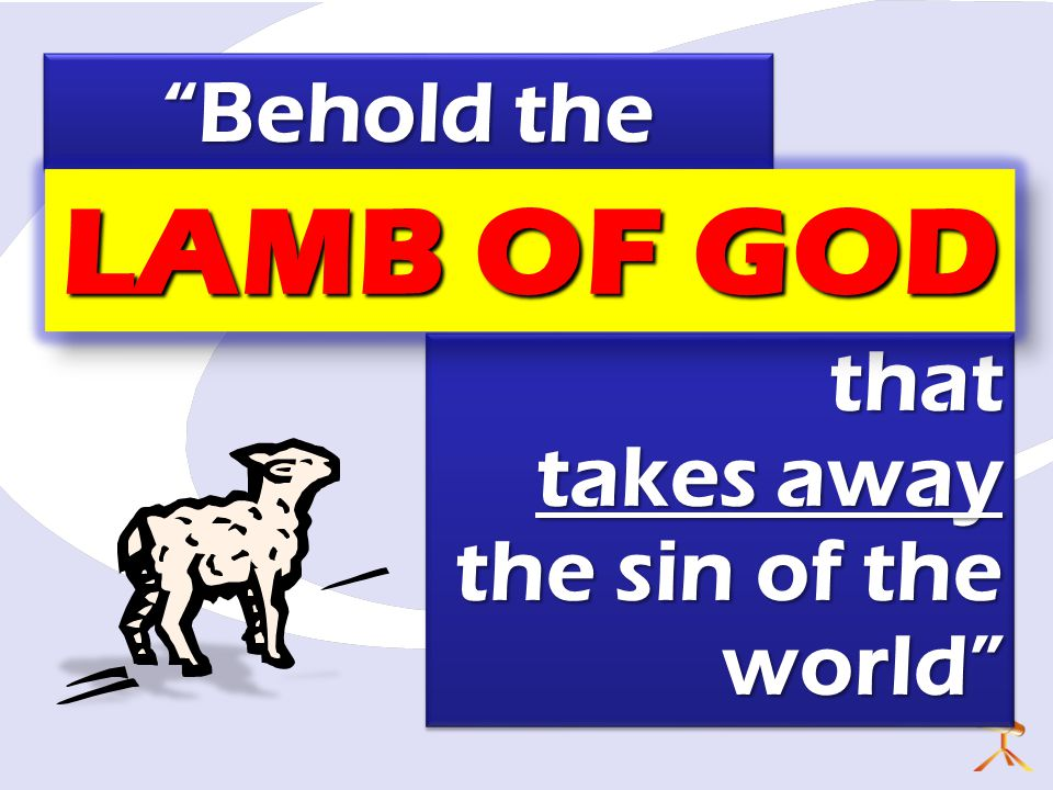 LAMB OF GOD Behold the that takes away the sin of the world