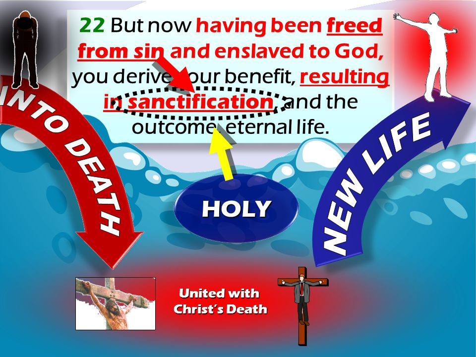 22 But now having been freed from sin and enslaved to God, you derive your benefit, resulting in sanctification, and the outcome, eternal life.