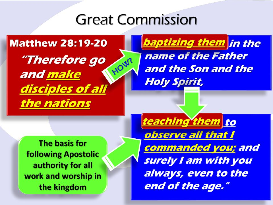 Great Commission Therefore go and make disciples of all the nations