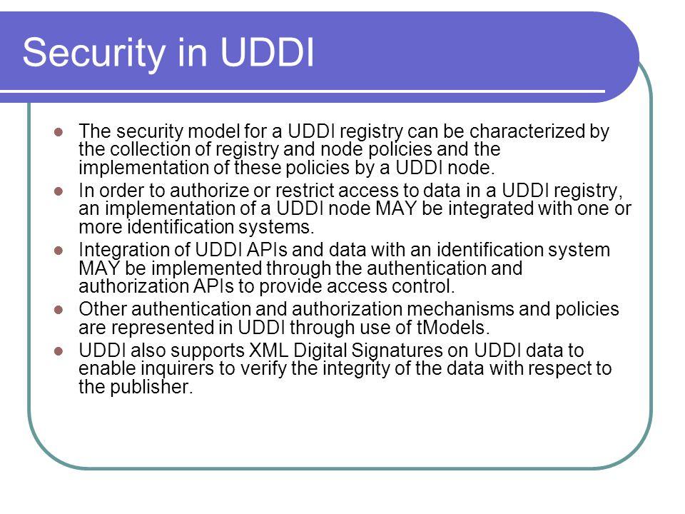 Security in UDDI