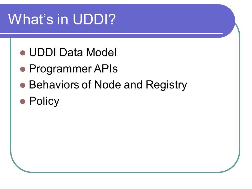 What's in UDDI UDDI Data Model Programmer APIs
