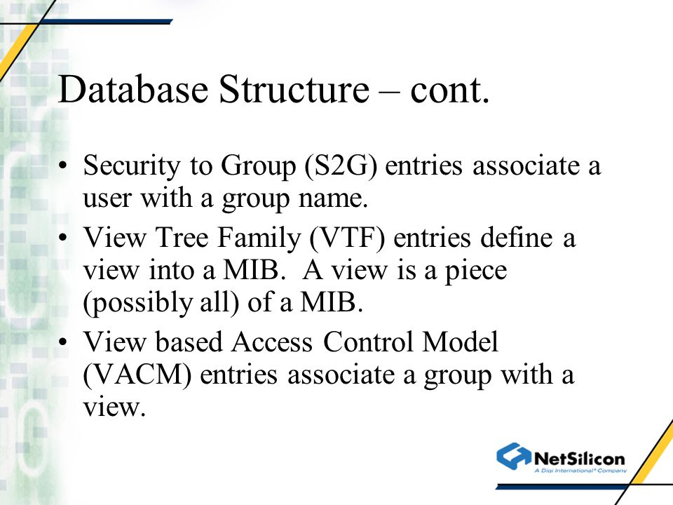 Database Structure – cont.