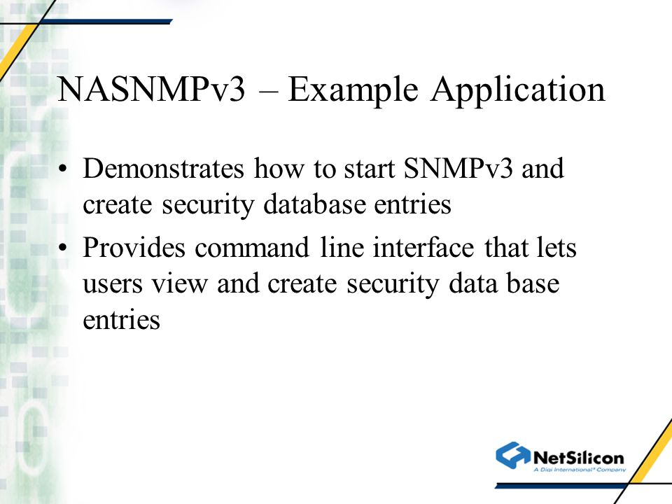 NASNMPv3 – Example Application