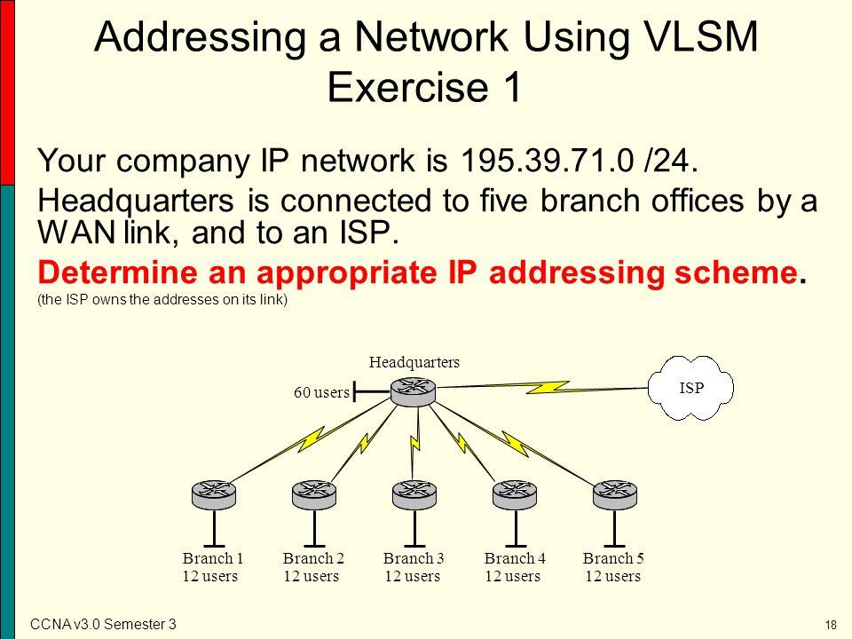Addressing a Network Using VLSM Exercise 1